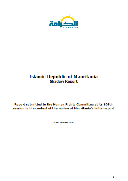 Mauritania: Human Rights Committee - 1st review - Alkarama's Report - sep 2013