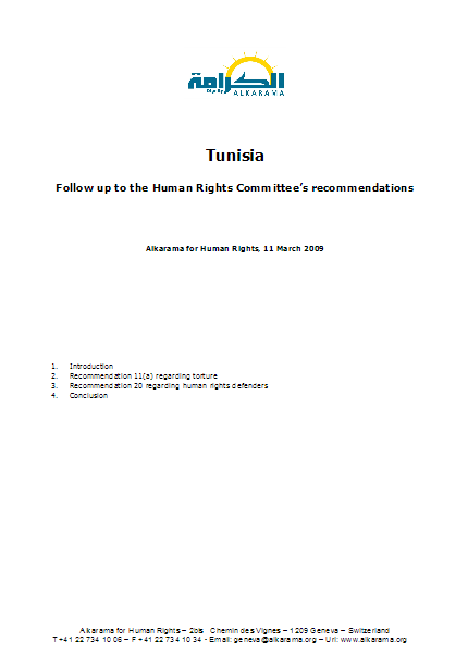Tunisia: Human Rights Committee - 5th Review - Alkarama's Follow up Report - Mar 2009