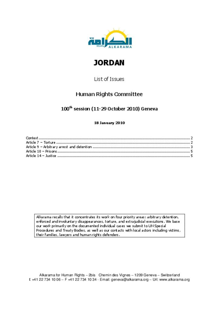 Jordan: Human Rights Committee - 3rd Review - Alkarama's List of Issues - Jan 2010