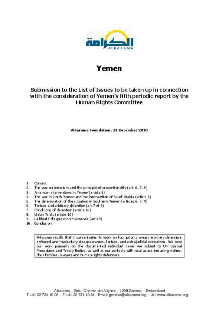 Yemen: Human Rights Committee - 5th review - Alkarama's list of issues - Dec 2010