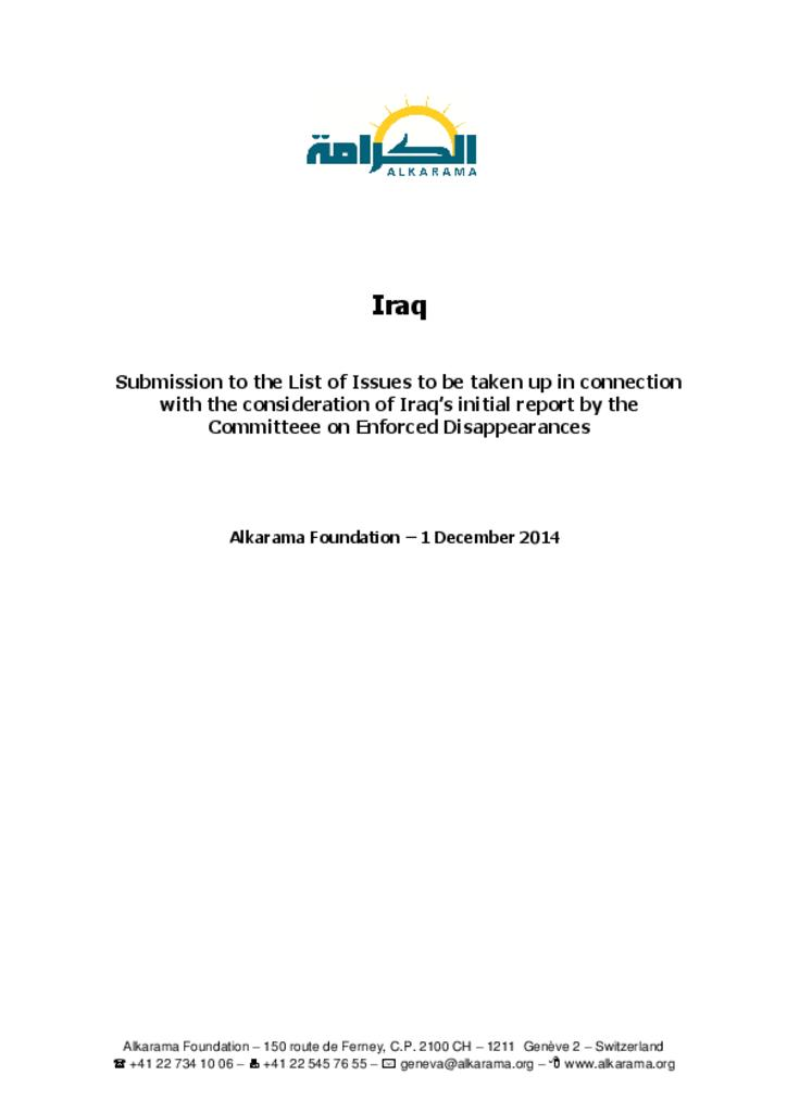 Iraq: Iraq: Committee on Enforced Disappearances - 1st review - Alkarama's List of Issues - Dec 2014