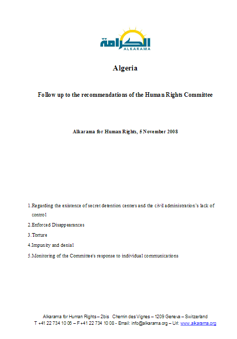 Algeria: Human Rights Committee - 3rd Review - Alkarama's Follow up Report - Nov 2008