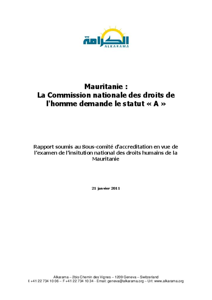 Mauritanie : comité international de coordination des institutions nationales pour la promotion et la protection des droits de l'homme (CIC)- rapport d'alkarama- jan 2011