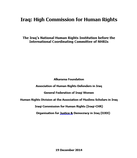Iraq: International Coordinating Committee of NHRIs- Alkarama's Joint Report- Dec 2014