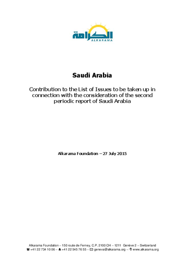 Committee against Torture - 2nd review - alkarama's report