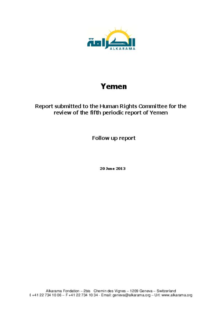 Yemen: Human Rights Committee - 5th Review - Alkarama's Follow up Report - June 2013