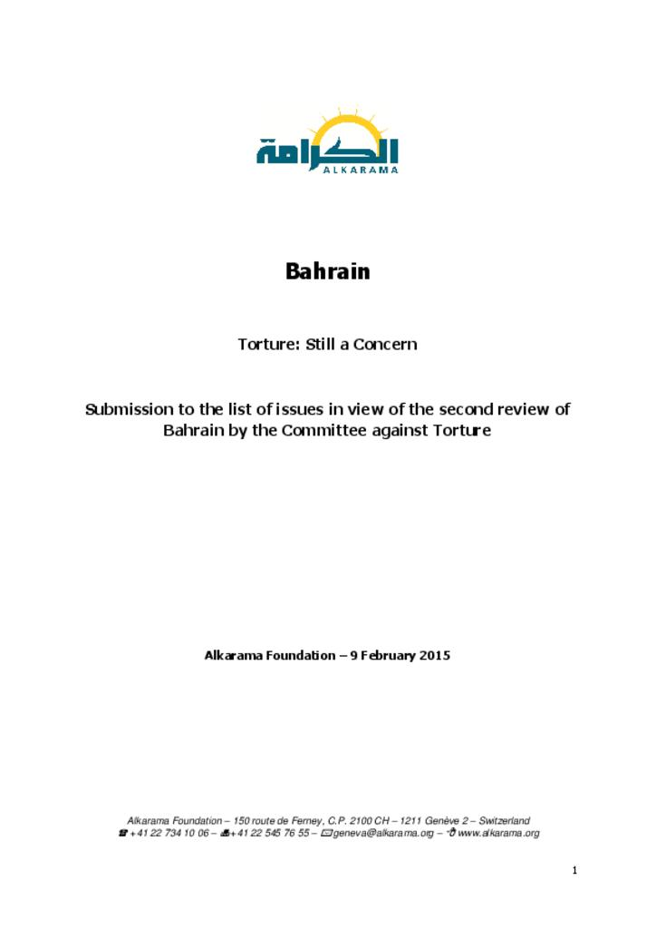 Committee against Torture -  review - alkarama's report