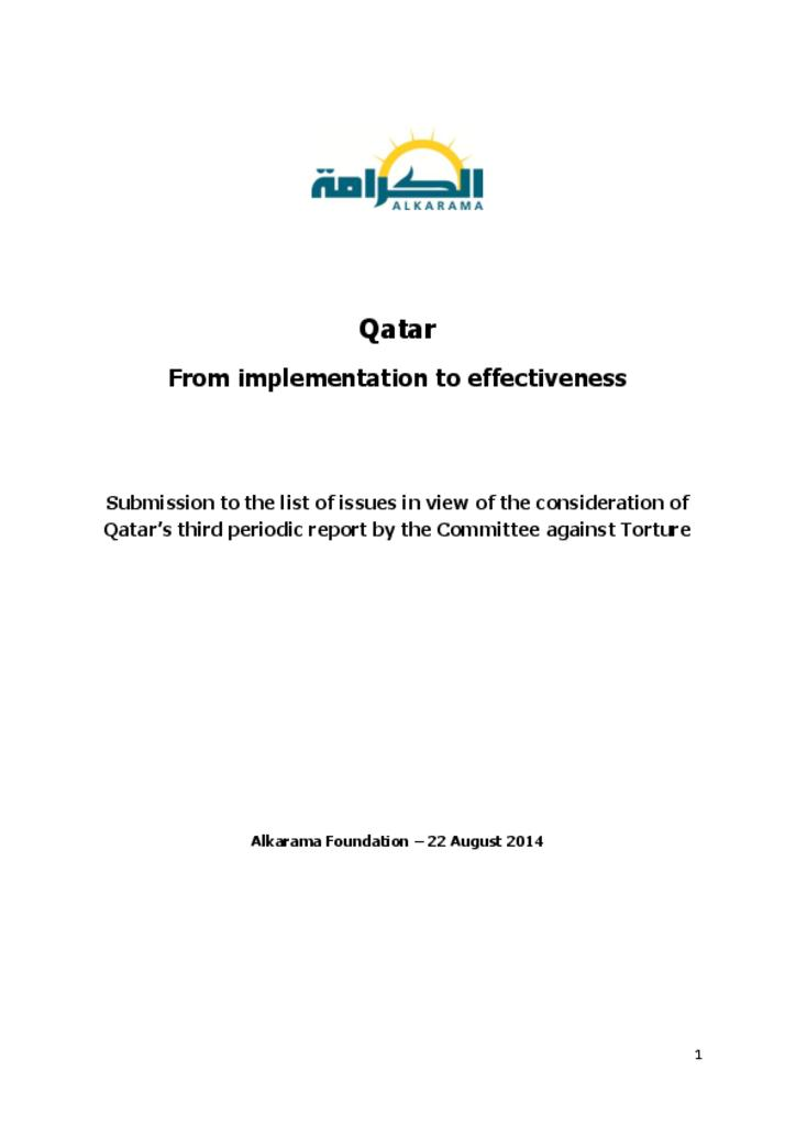 Qatar: Committee against Torture Lebanon: Committee against Torture 3rd review - alkarama's report - Aug 2014